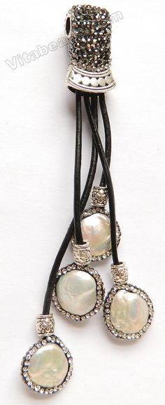 Tassel Pendant w/ Marcasite w/ Silver Bail - Pearl Coin 15 mm Fresh Water Pearl Puff Coin Total 120mm Long