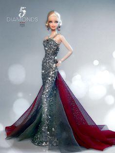 5 Diamonds in Red Barbie Doll