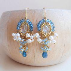 Cote dAzur gemstone beaded chandelier cluster earrings London blue bridal aquamarine apatite quartz kyanite gold fill pearl June birthstone