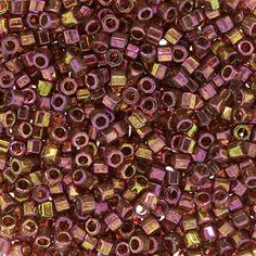 Size 10 Transparent Luster Raspberry/Gold Hex Delica Beads - DBMH0103 | Fusion Beads