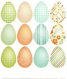 Printable Easter Eggs http://blog.worldlabel.com/2014/spring-has-sprung-easter-printable-labels.html