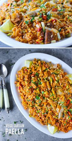 Vegetarian Paella – a crowd-pleasing, full flavored dish with saffron rice and savory vegetables that's perfect for any season, indoors and out. Vegetarian Rice Dishes, Vegetarian Paella, Vegetarian Recipes, Healthy Recipes, Seafood Paella, Vegetarian Grilling, Vegan Dishes, Gastronomia, Gourmet