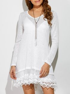Layered Lace Patchwork Dress in White | Sammydress.com