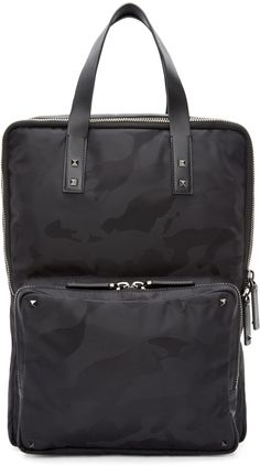Valentino Black Camouflage Print Square Backpack