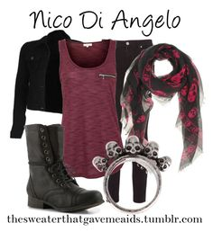 Nico Di Angelo by khriseus on Polyvore featuring Paige Denim, Madden Girl, Gathering Eye and Alexander McQueen