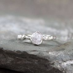 Raw Diamond Twig Ring - Branch Ring - Engagement Rings - Sterling Silver - Solitaire Diamond Rings- Rough Diamond Gemstone $295