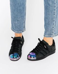 Adidas | adidas Originals Black Superstar Trainers With Holographic Metal Toe Cap at ASOS