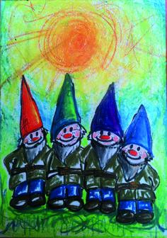 Zwergenfamilie mit Neocolor gemalt