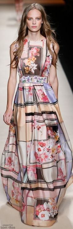"Alberta Ferretti Spring 2015 RTW...Just a little FYI...For those of you who do not know what ""RTW"" means, it's the initials for , ""Ready To Wear"", and is the Designers line for the Stores/Boutiques which will carry their lines for you to purchase. In case you haven't noticed...there is not a lot of women wearing the ""exaggerated"" designs straight from the Fashion runways. ;-)"