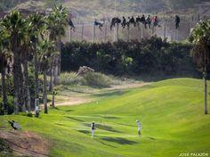 THE MULTICULTURAL SOCIETY > Immigration [Image] INMIGRACIÓN - Inmigrantes sobre la valla de Melilla