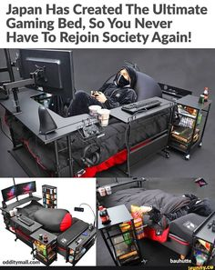 Japan Has Created The Ultimate Gaming Bed, So You Never Have To Rejoin Society Again! a - iFunny :) Really Funny Memes, Stupid Funny Memes, Funny Relatable Memes, Gamer Humor, Gaming Memes, Video Game Rooms, Gaming Room Setup, Game Room Design, Game Room Decor