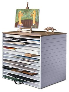 """Stack Up To 30 Trays High!Storing paper, finished art, boards, canvases, panels or other flat gear can get tricky. It can also take up a whole lot of space and the wrong storage could cost you valuable art or supplies. These high density, high molecular weight, white polyethylene trays are the perfect solution for your studio. They hold a full 2"""" high of material and stack up to 30 high.ADDITIONAL DELIVERY TIME REQUIRED! Call our Order Department at 1-800-827-8478 for more inf..."""