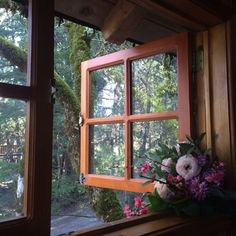 (1) Tumblr Cottage Windows, Garden Windows, Window View, Open Window, Forest Cabin, Home Flowers, Flowers Nature, Cottage In The Woods, Looking Out The Window