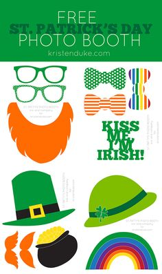 St. Patrick's Day photo booth props, free printable. Great for a party, or just fun with kids!