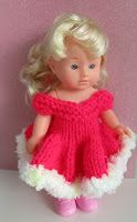 """Chrissie 8"""" doll dress 4mm needles Double knit yarn Cast on 90 stitches Knit 2 rows Start with a purl row continue in stocking ..."""