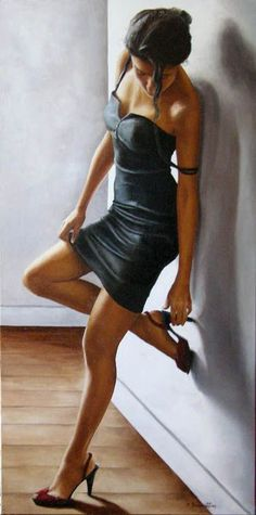 Woman painting by Annick Bouvattier