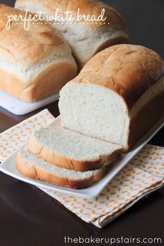 Perfect white bread from The Baker Upstairs. This bread is so moist and delicious, and strong enough to stand up to any sandwich topping! The perfect all-purpose bread!  http://www.thebakerupstairs.com