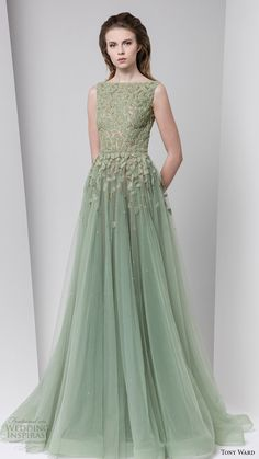 tony ward fall winter 2016 2017 rtw sleeveless bateau neckline ball gown a line evening dress powder green wedding inspiration