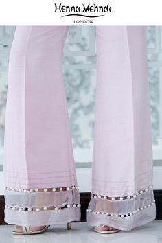 Ivory raw silk boot cut trousers with pink diamante embroidery and embellishment with tassel accessories. Please note these are trousers only. Please note deli Fashion Pants, Fashion Dresses, Pink Trousers, Dress Trousers, Silk Pants, Salwar Pants, Salwar Designs, Pakistani Outfits, Pants Pattern