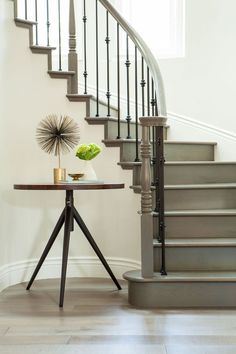 How Painted Stairs Can Completely Transform Your Home Green grey painted stairs makes for a detail-c Painted Staircases, Curved Staircase, Painted Stairs, Stair Railing, Staircase Design, Staircase Ideas, Modern Staircase, Railings, Iron Spindle Staircase