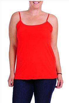 284d71b618 JKC USA Plus Size Womens Camisole Builtin Shelf Bra Adjustable Spaghetti  Straps Tank Top ST001X