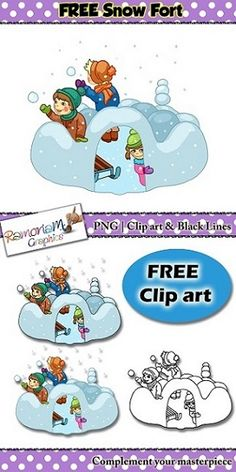 Free winter clip art. Children playing in the snow, building a snow fort, having snowball fights. Winter fun!