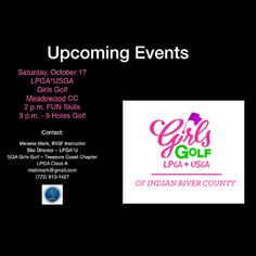 Take a look at our upcoming events here! Golf Training, Training Center, Golf Now, Athletic Scholarships, Florida Golf, Indian River County, Vero Beach Fl, Girls Golf, Golf Lessons