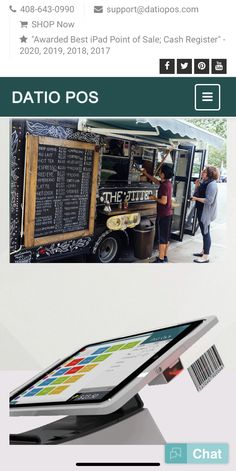 Datio POS is the best Cash register and Point of Sale for Food Trucks. Take Orders on the Go with mobile It is simple to setup and easy to use. Credit Card Readers, Best Ipad, Point Of Sale, Cash Register, Printer Scanner, Pos, Food Truck, Drawer, Connect