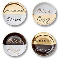 Hugs & Kisses Porcelain Coasters #coasters #hostess #gift #hugs #kisses #peace #love #gold #black #chic #glam #appetizers #appetizer #plates #serving #entertaining