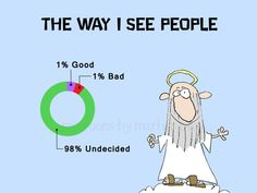 Saint Peter and a Pie Chart Of Good and Bad People by martinjovev