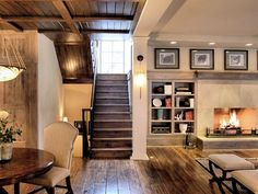 Captivating Small Basement Ideas with Beautiful Decoration : Entrance Retro Small Basement For Family Room With Fireplace And Dining Table A...