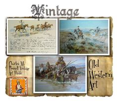 """Vintage Art Prints by Charles M. Russell"" by sylvia-cameojewels on Polyvore featuring art and vintage"