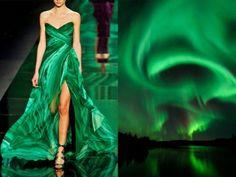 Monique Lhuillier Fall 2013 & Aurora Borealis in Finland. Photo by Thomas Kast. Collage by Liliya Hudyakova. Runway Fashion, Fashion Beauty, Fashion Show, Fashion Design, Fashion Art, Green Fashion, Fashion Themes, Fashion Dresses, Fashion Project