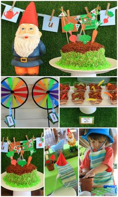 Lots of dirt at this gardening boy birthday party! Great party ideas, love the gnomes! See the whole party on CatchMyParty.com here: http://catchmyparty.com/parties/gardeninggreen-thumbs-4th-birthday-party #birthdaycake #boybirthday #partyideas