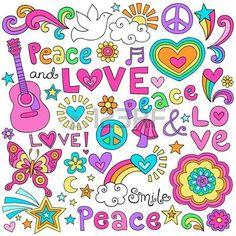 Amor de la paz y de la M sica del flower power Groovy Psychedelic Notebook Doodles Set con Signos de Foto de archivo