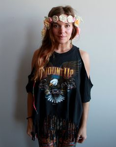 Eagle Biker Black Eco Friendly Cut Out open Off The Shoulder Oversized Upcycled Fringe Tshirt/Tee/Top/Shirt Womens One Size