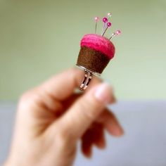 Cupcake pincushion ring.  On etsy.  darling, and so handy if you sew.