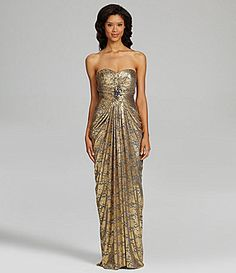 ADRIANNA PAPELL STRAPLESS METALLIC LACE GOWN -- NWT SIZE 16