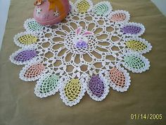 Handmade Crocheted Easter Bunny and Eggs Doily
