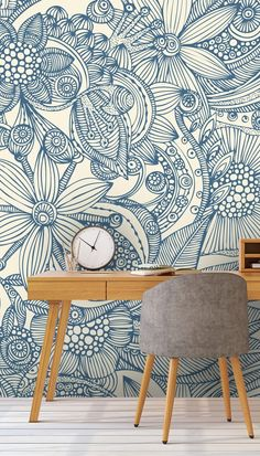 Flowers and doodles blue Wallpaper Mural
