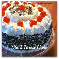 Easiest German Black Forest Cherry Cake you'll ever make. Chocolate cake, cherries, and light and fluffy, real whipped cream! German Cakes Recipes, German Desserts, Köstliche Desserts, Delicious Desserts, Cake Recipes, Dessert Recipes, Diabetic Desserts, Traditional Black Forest Cake Recipe, Hazelnut Torte Recipe