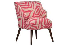 Kira Chair, Flax/Pink Zebra