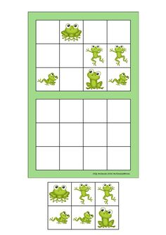 Board and tiles for the sudoku. Laminate and cut out the board and tiles. add hook and loop tape and the sudoku is ready. By Autismespektrum Frog Activities, Frog Games, Learning Activities, Opposites Worksheet, Kindergarten, Puzzles For Kids, Preschool Crafts, Special Education, Kids And Parenting