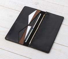 Zipper Wallet Womens Leather Wallet Long Wallet by MinnimClothes