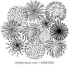 Firework tattoo idea, could substitute the black for white on the skin (background/night sky as black or dark navy and fireworks white or light colored). How To Draw Fireworks, Fireworks Art, Firework Tattoo, Firework Painting, Firework Drawing, Nouvel An, Chalkboard Art, Doodle Art, Painted Rocks