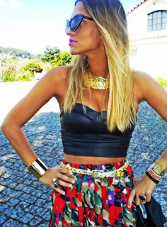 Leather crop top & patterned skirt