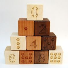 Organic number blocks by little sapling toys.  They are made from Walnut, Maple and Cherry wood lightly finished in local beeswax and organic jojoba oil. A tree through Trees for the Future is planted for every toy sold!