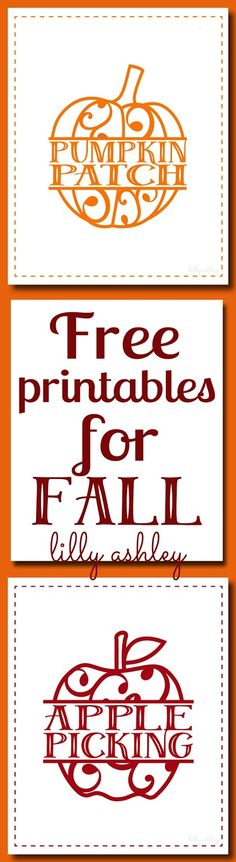 Freebie Fall Printables great for a fall mantel! Pumpkin Patch and Apple Picking free 8x10s