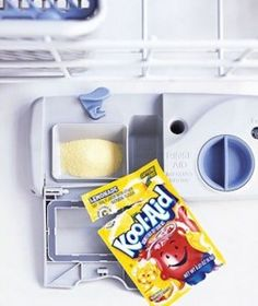 Clean your dishwasher AND leave it smelling like lemonade Kool Aid in the the process (yum!).