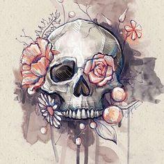 Resultado de imagem para skull and flower tattoo
